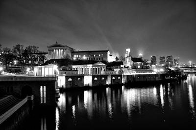 The Philadelphia Waterworks In Black And White Art Print