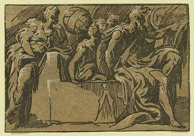 Diogenes Drawing - The Philosopher Diogenes And The Allegory Of Astronomy by Antonio Da Trento, And Parmigianino, Girolamo Francesco Maria Mazzola (1503-1540), Italian