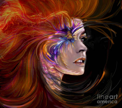 Digital Art - The Phoenix  Fire Flames And Rebirth by Jaimy Mokos