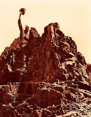 Art Print featuring the photograph The Photographer On Pinnacle Peak Early 1900 Era by Eddie Eastwood
