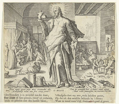 Religious Text Drawing - The Physician As God by Claes Jansz. Visscher (ii)