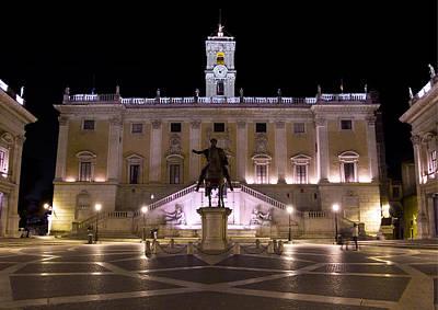 Photograph - The Piazza Del Campidoglio At Night by Weston Westmoreland