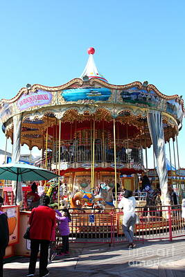 The Pier 39 Carousel And Performers San Francisco California 5d26120 Art Print