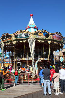 The Pier 39 Carousel And Performers San Francisco California 5d26124 Art Print