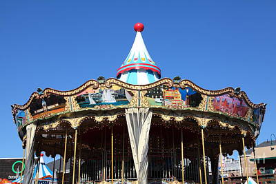 The Pier 39 Carousel And Performers San Francisco California 5d26126 Art Print