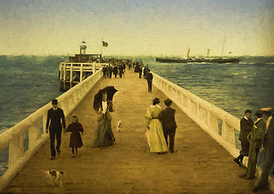 Horse And Buggy Painting - The Pier At Ostend by John K Woodruff