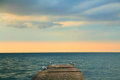 Great Lakes Photograph - The Pier At Sunset by Heather Allen