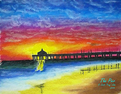 Ocean Sunset Drawing - The Pier by Frag Jobe