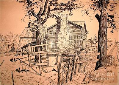 Pen And Ink Drawing Drawing - The Pig Sty by Kip DeVore