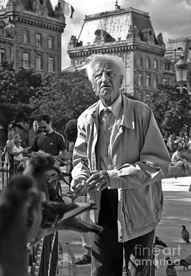 Lourve Photograph - The Pigeon Feeder by Benjamin Fischinger