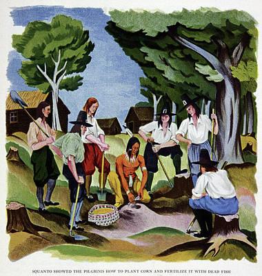 The Pilgrims Learning To Farm Art Print
