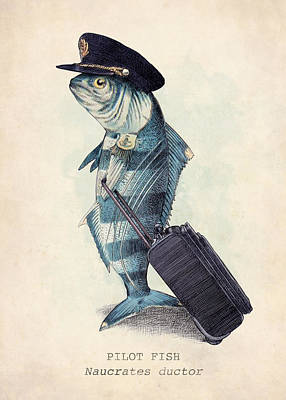 Fish Drawing - The Pilot by Eric Fan