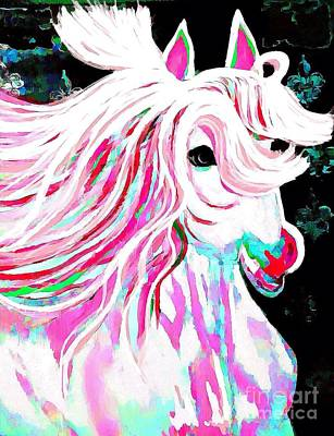 Painting - The Pink And White Pony Impression by Saundra Myles