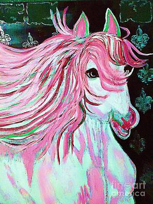 Painting - The Pink And White Pony by Saundra Myles