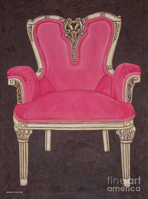 Drawing - The Pink Chair by Margaret Newcomb