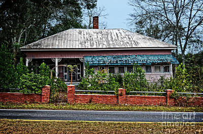 Awnings Digital Art - The Pink House - Florida by Mary Machare