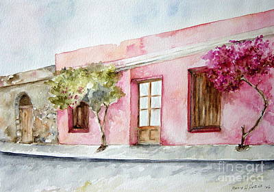 Painting - The Pink House In Colonia by Madie Horne