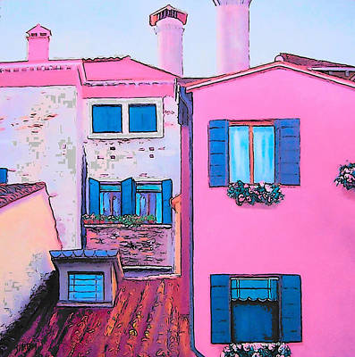 Villa Painting - The Pink House by Jan Matson