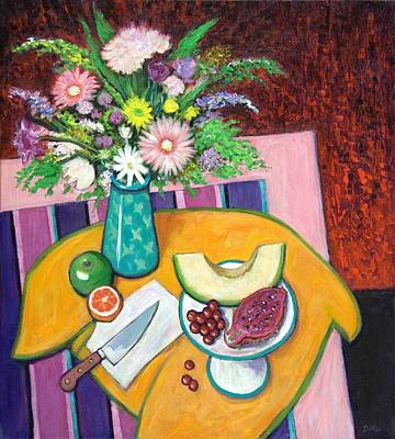 Apple Painting - The Pink Table by Sandra Delaney