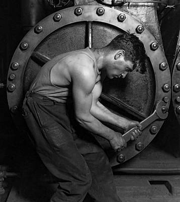 Hines Photograph - The Pipefitter 2 - Lewis Hine - 1920 by Daniel Hagerman