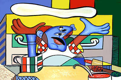 Cubists Digital Art - The Pizza Guy by Anthony Falbo