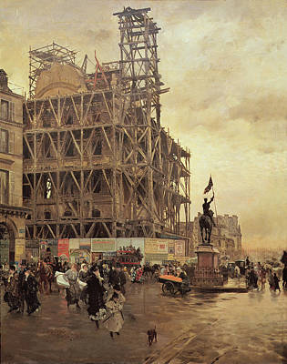 Crowd Scene Photograph - The Place Des Pyramides, Paris, 1875 Oil On Canvas by Giuseppe or Joseph de Nittis