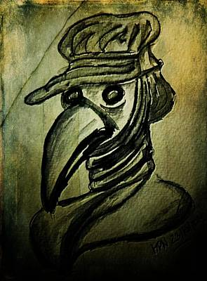 Ink Drawing Drawing - The Plague Doctor by Mimulux patricia no No