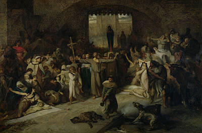 Black Death Photograph - The Plague Of Tournai In 1095, 1883 Oil On Canvas by Louis Gallait