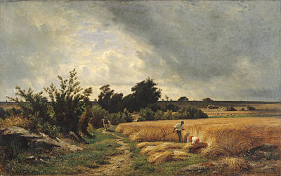 The Plateau Of Ormesson - A Path Through The Corn Oil On Canvas Art Print by Francois Louis Francais