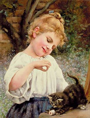 Youthful Painting - The Playful Kitten by Leo Malempre
