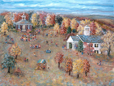 Old School House Painting - The Playground At Deep Run by Pamela Parsons