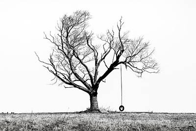Art Print featuring the photograph The Playmate - Old Tree And Tire Swing On An Open Field by Gary Heller