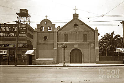 Photograph - The Plaza Church Los Angeles Circa 1915 by California Views Mr Pat Hathaway Archives