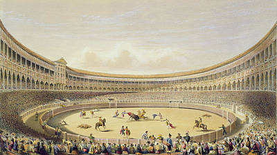 Bull Drawing - The Plaza De Toros Of Madrid, 1865 by William Henry Lake Price