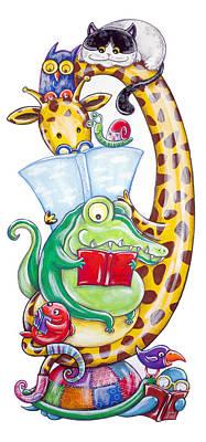 Crocodile Painting - The Pleasure Of Reading by Loris Bagnara