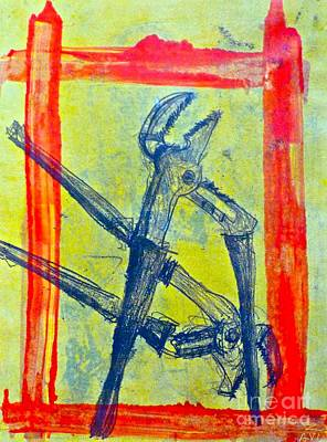 Monoprint Drawing - The Pliers Brothers by Avi Zamir