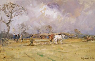 Farm Team Painting - The Plough Team by John Atkinson