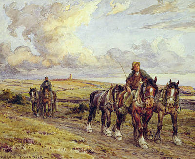 Shire Horse Painting - The Plow Team by Joseph Harold Swanwick