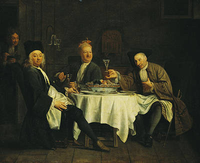 The Poet Alexis Piron 1689-1773 At The Table With His Friends, Jean Joseph Vade 1720-57 And Charles Art Print by Etienne Jeaurat