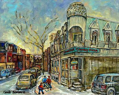 Montreal Restaurants Painting - The Point Hockey Game Connie's Pizza Winter Scene Paintings Montreal Art Carole Spandau by Carole Spandau