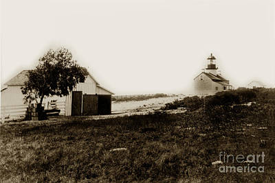 Photograph - The Point Pinos Lighthouse Pacific Grove California Circa 1895 by California Views Mr Pat Hathaway Archives