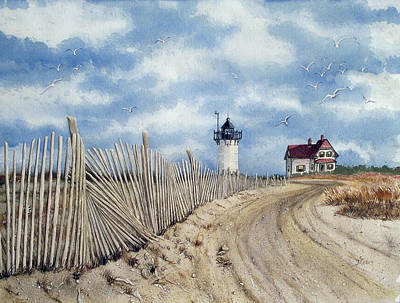 Painting - The Pole Line To Race Point Light by Jennifer  Creech