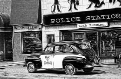 Mixed Media - The Police Car by Bob Pardue