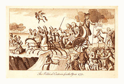 Cartoon Horse Drawing - The Political Cartoon For The Year 1775, En Sanguine by English School