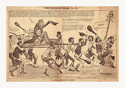 Caricature Drawing - The Political Drama. No. 61. Old Grill Among The Paddies by Litz Collection