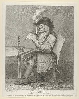 Stippling Drawing - The Politician by After William Hogarth