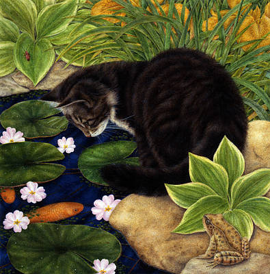 Gray Tabby Painting - The Pond by Anne Mortimer