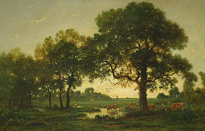 Fresh Water Painting - The Pond Oaks by Theodore Rousseau