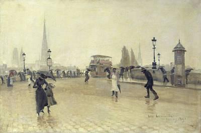 Cobbled Street Photograph - The Pont Corneille, Rouen, 1891 Oil On Canvas by Leon Lemaitre
