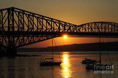 St. Laurent Photograph - The Pont Du Quebec And The St Lawrence by Colin Woods